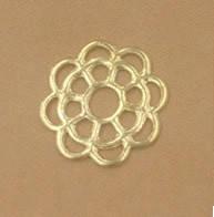 Коннектор (кабошон, подвеска) филигранный цветок. ЗОЛОТИСТЫЙ 10 мм_5 шт., фото 1