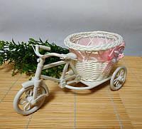 Кашпо Велосипед с розовой лентой, фото 1