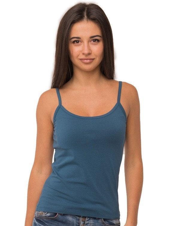 Майка женская однотонная без рисунка трикотажная летняя, синяя