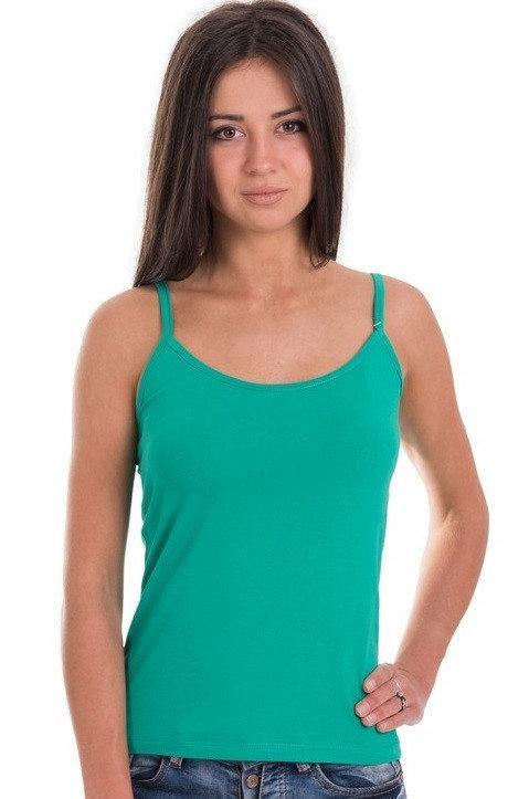 Майка женская однотонная без рисунка трикотажная летняя, зеленая