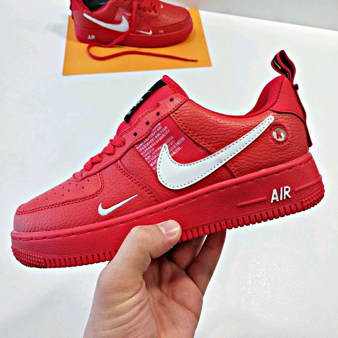 Men's Nike Air Force 1 '07 LV8 Utility October Red White 315122 111 Male Casual Shoes 315122 111c