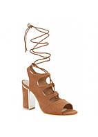 Коричневые женские босоножки со шнуровкой, фото 1