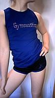 Майка тренировочная синяя с апликацией из камней DMC
