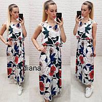 Женское летнее платье сарафан длинное на завязках софт цветочный принт размер:42,44,46,48