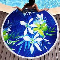 Круглое пляжное полотенце Орхидеи (150 см.)