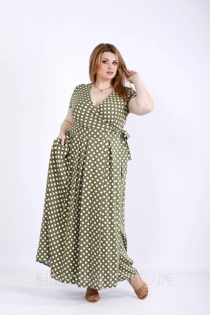Свободное скрывающее платье в горох / 42-74