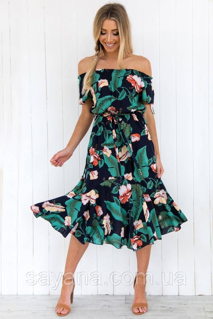 Женское платье с поясом и ярким принтом. СК-13-0519