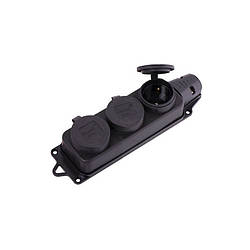 Розетка 3-ая наружной установки с заглушками 2Р+РЕ 1х16А 220-240V (каучук) Lezard 106-0400-0101
