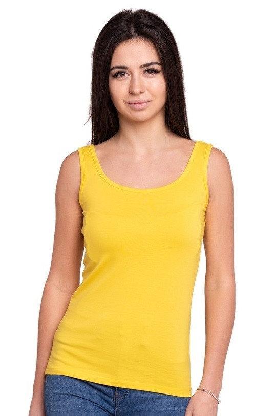 Однотонна майка жіноча літнє трикотажна тканина, жовта
