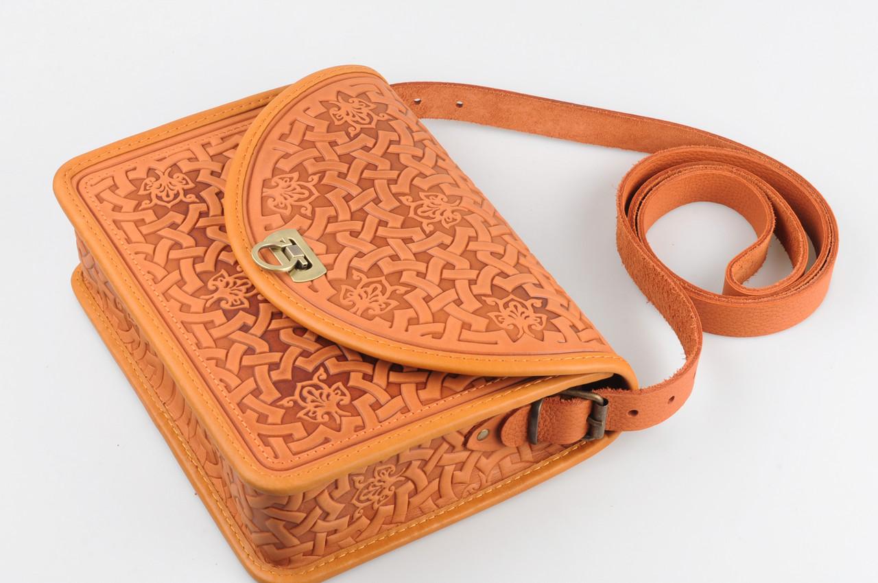 812cc5ae3948 Эксклюзивная рыжая женская сумочка через плечо, тисненый авторский узор