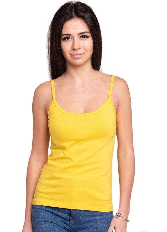 Майка женская однотонная без рисунка трикотажная летняя, желтая