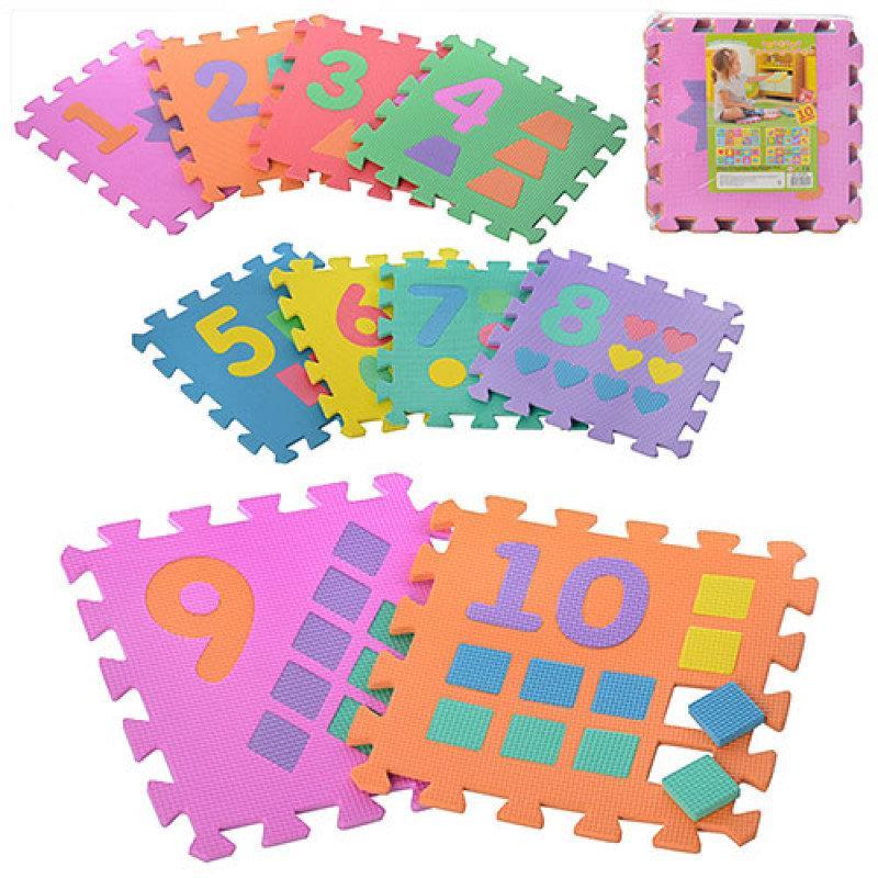 Детский Коврик Мозаика Пазл для пола EVA Цифры и фигуры, 10 деталей, М 0375