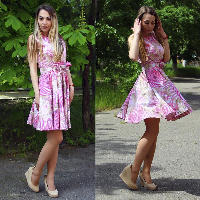 летнее платье с цветочным принтом, коттоновое летнее платье, платье 2019