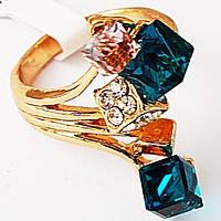 """Кольцо """"Игра"""", позолота 18К. Камни вставки: кристаллы. Размеры 17, 20."""