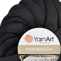 Толстая пряжа шнур трикотажная YarnArt Marshmallow 902 черный (Ярнарт Маршмеллоу)