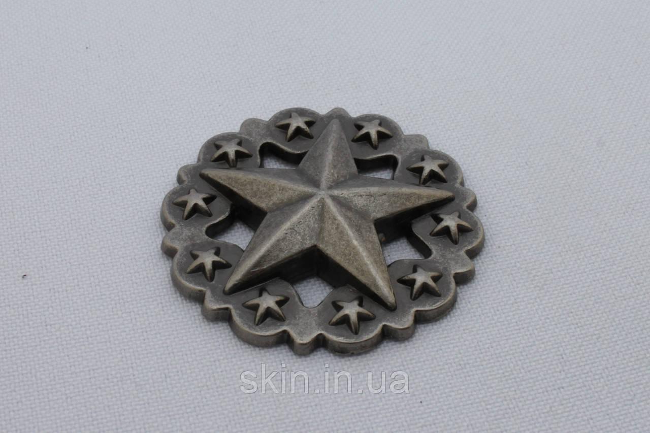 Кончо, крепление винт, цвет черный никель, диаметр 36 мм, артикул СК 5277