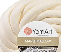 Толстая пряжа шнур трикотажная YarnArt Marshmallow 903 молочный (Ярнарт Маршмеллоу)