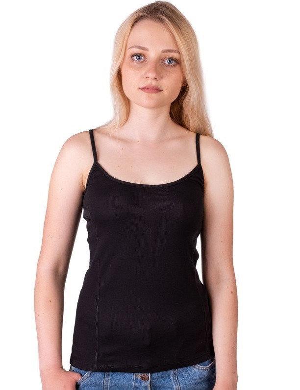 Майка в рубчик женская однотонная трикотажная летняя хлопковая, черная