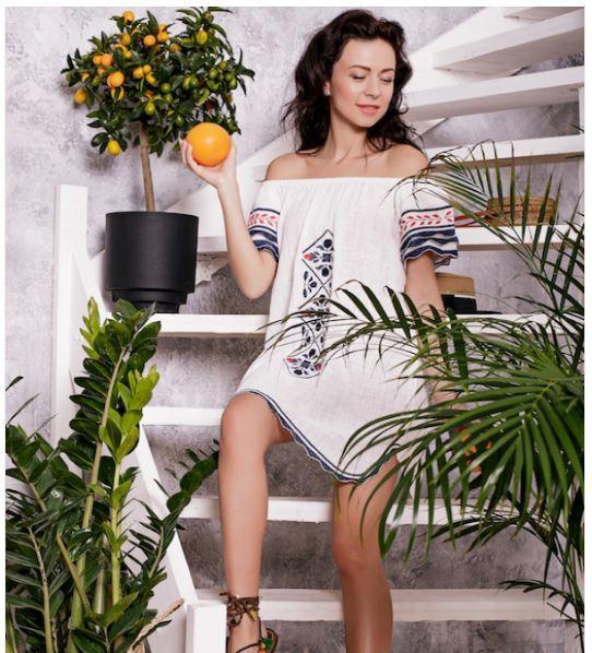 Платье рубашка с вышивкой Batiche 122