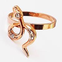 """Кольцо """"Змейка с кристаллом"""", позолота. Размеры 17.5,19."""