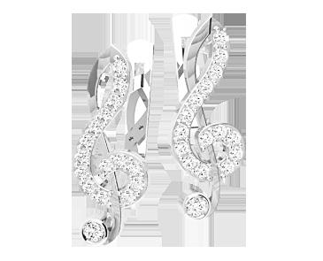 Серьги серебряные Скрипичный ключ, Нота 41320