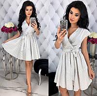 Женское платье в мелкий горошек из коттона