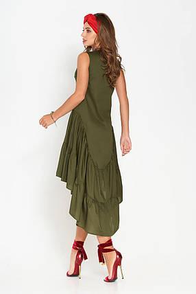 Женское платье миди свободное асимметричное без рукава из хлопка цвета хаки, фото 2