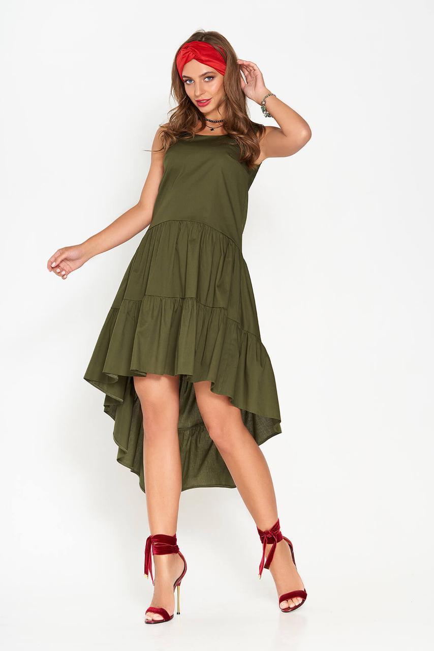 Женское платье миди свободное асимметричное без рукава из хлопка цвета хаки