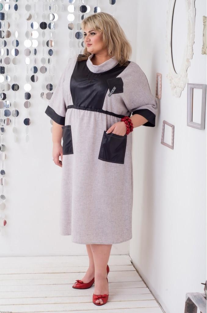 Красивое женские платье размера плюс Рокси серый (62-72)