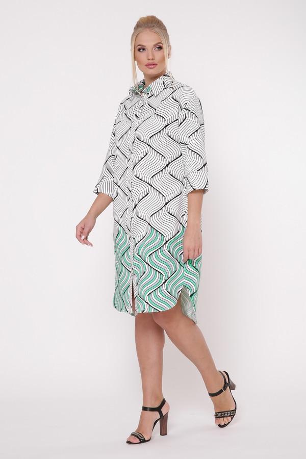 Платье-рубашка Сати фьюжн зеленый Размеры 52, 54, 56, 58
