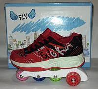Ролики-кросовки FLY MS 0030, 5 колес 36р. червоні