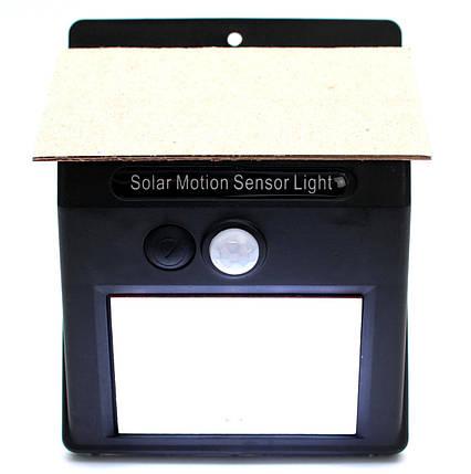 Светодиодный фонарь уличный LED светильник наружного освещения с датчиком движения на солнечной батарее, фото 2