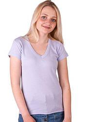 Женская футболка сиреневаяс коротким рукавом без рисунка хлопковаятрикотажная х/б