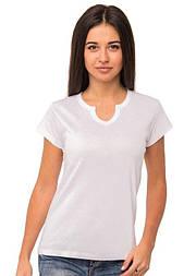 Базовая футболка без рисунка женскаятрикотажная с коротким рукавом хлопковая х/б, белая