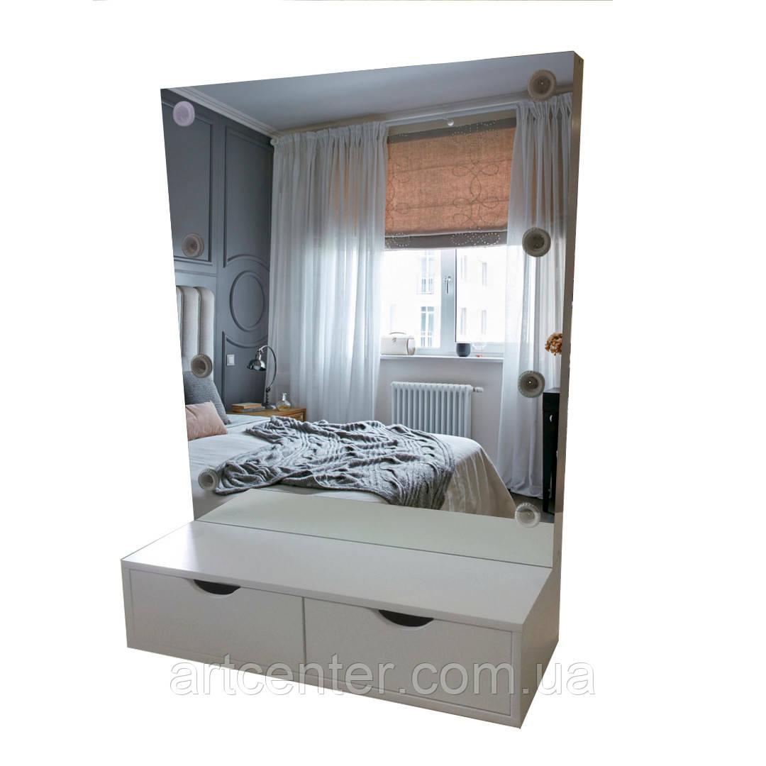 Невесной туалетный столик с зеркалом и 2 выдвижными ящиками