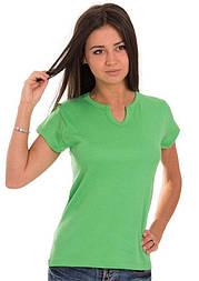 Футболка без рисунка женскаятрикотажная с коротким рукавом хлопковая х/б, зеленая