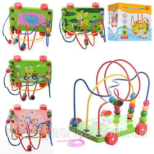 Деревянная игрушка Каталка + Лабиринт с бусинами на, MD 0320, 006619