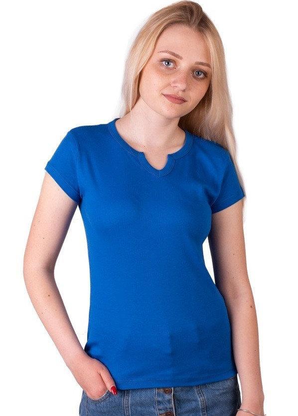 Футболка без рисунка женская трикотажная с коротким рукавом хлопковая х/б, синяя