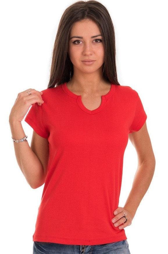 Футболка без малюнка жіноча трикотажна з коротким рукавом бавовняна х/б, червона