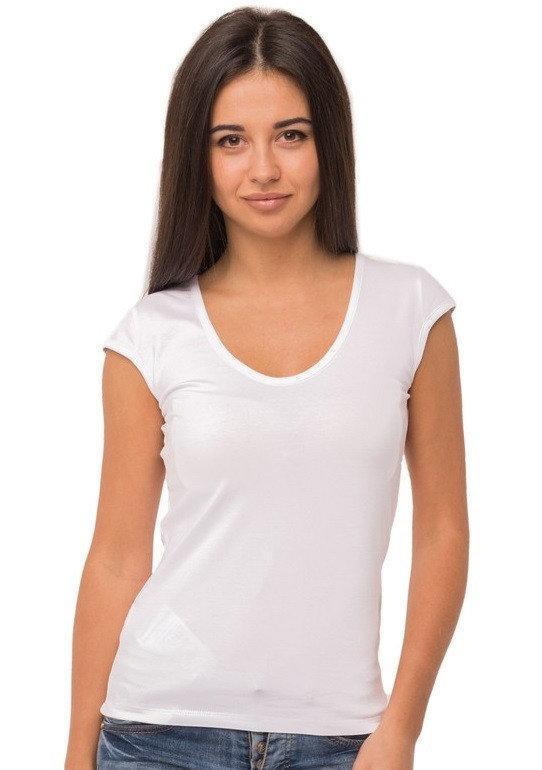 Белая футболка женская без рисунка однотонная стрейчевая летняя
