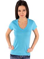 Женская футболка голубаяс коротким рукавом без рисунка хлопковаятрикотажная х/б