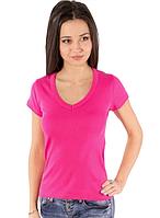 Женская футболка розоваяс коротким рукавом без рисунка хлопковаятрикотажная х/б
