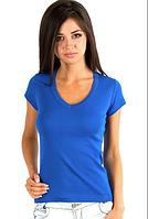 Женская футболка синяя с коротким рукавом без рисунка хлопковаятрикотажная х/б