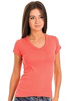 Женская футболка коралловаяс коротким рукавом без рисунка хлопковаятрикотажная х/б