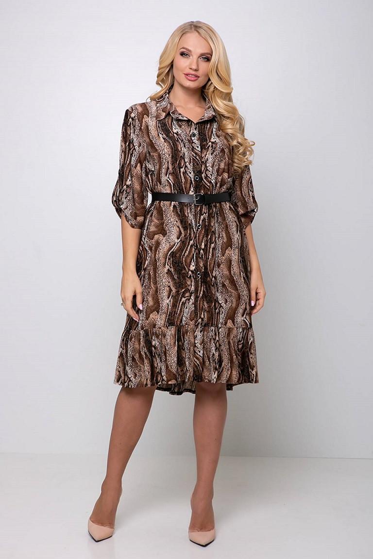 Платье с застежкой спереди Перис коричневое (54-60)