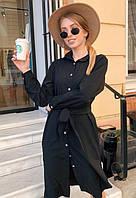 Платье рубашка летнее с поясом на пуговицах миди ниже колена с длинным рукавом Цвет : Черный Размер : 42 44 46 48 Материал : Софт k-52856