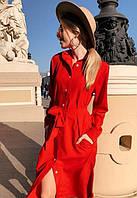 Платье рубашка летнее с поясом на пуговицах миди ниже колена с длинным рукавом Цвет : Красный Размер : 42 44 46 48 Материал : Софт k-52857
