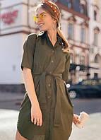 Платье рубашка летнее с поясом на пуговицах миди до колена рукав три четверти Цвет : Хаки Размер : 42 44 46 48 Материал : Поли - коттон k-52860