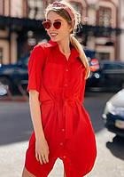 Платье рубашка летнее с поясом на пуговицах миди до колена рукав три четверти Цвет : Красный Размер : 42 44 46 48 Материал : Поли - коттон k-52862