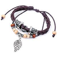 Плетеный кожаный браслет - Кованый листок